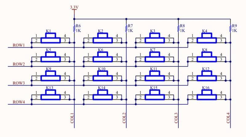 fpga驱动矩阵按键模块,首先我们来了解矩阵按键的硬件连接